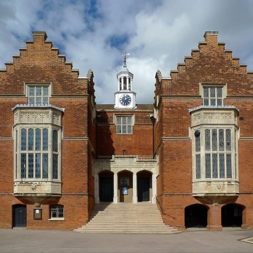 The outside of Harrow School and its main entrance.
