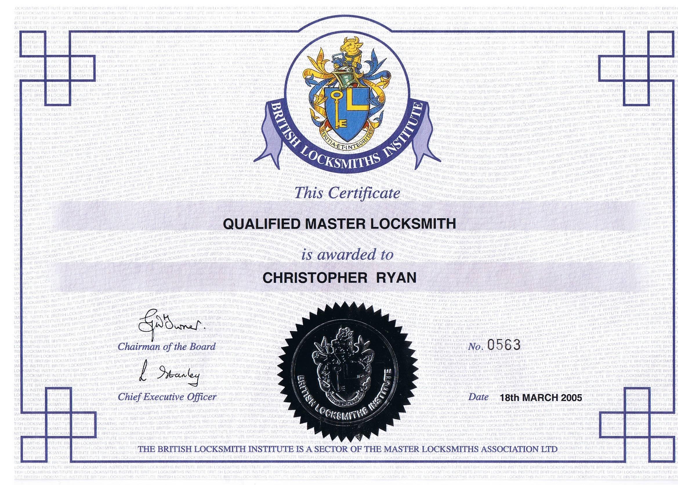 Qualified Master Locksmith Cert