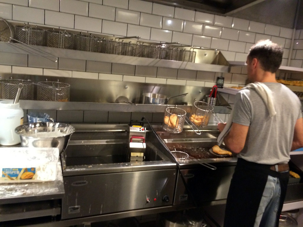 Well designed kitchen helps Matthew to make lots of Fish & Chips in short time