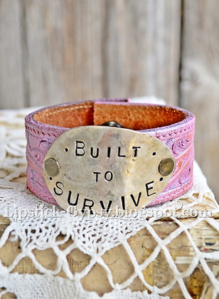 Built To Survive Pink Leather Cuff