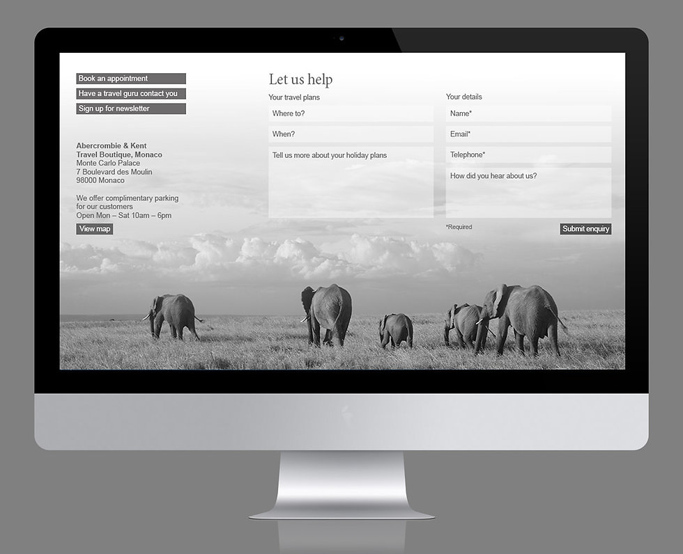 Website contents pagefeaturing elephants, shown on computer screen