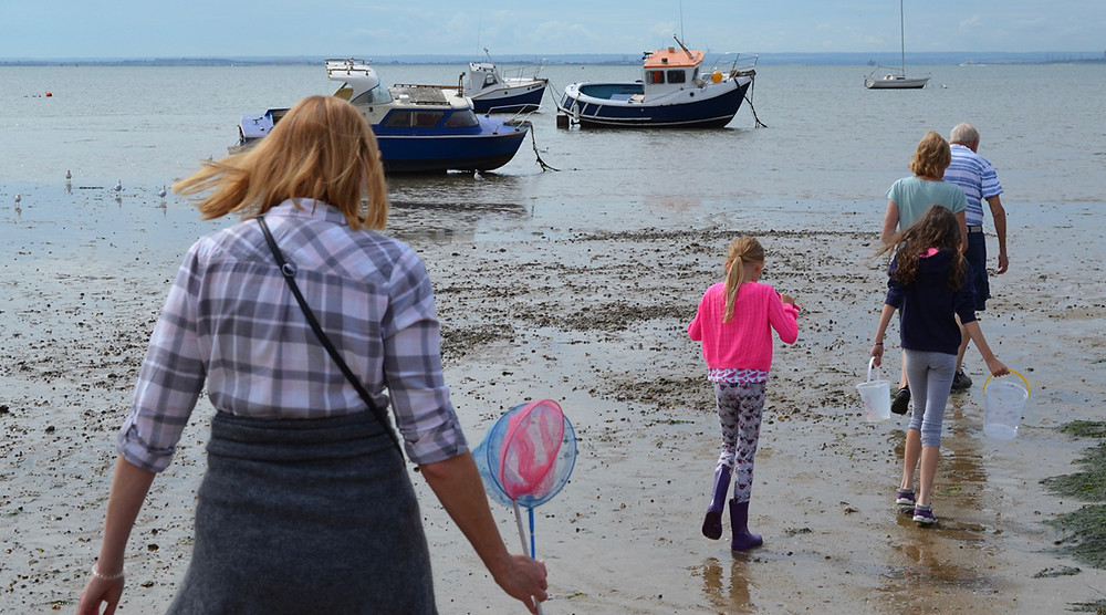 On the beach with fishing nets