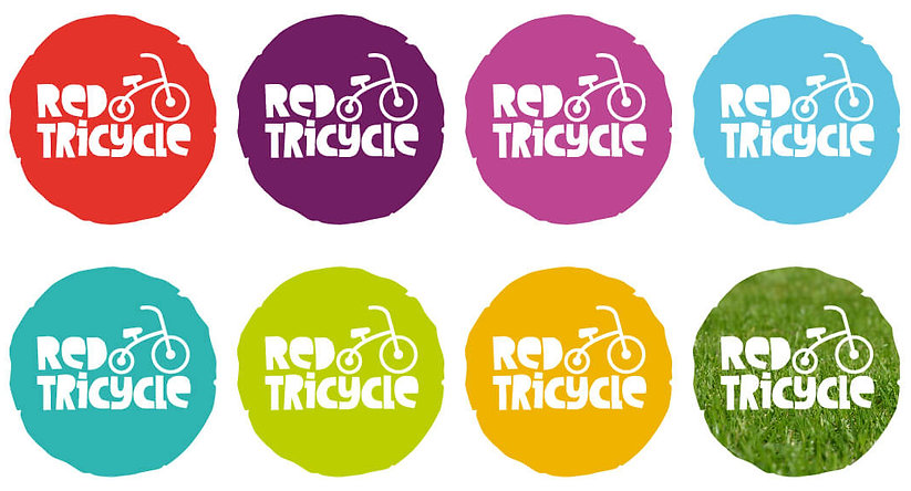 Red Tricycle logo reversed out of colour circles