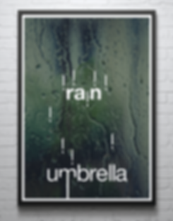 Typographic poster illustrating rain