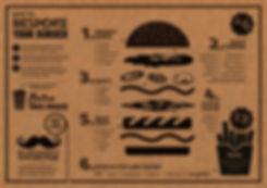 Design for menu featuring buger illustration