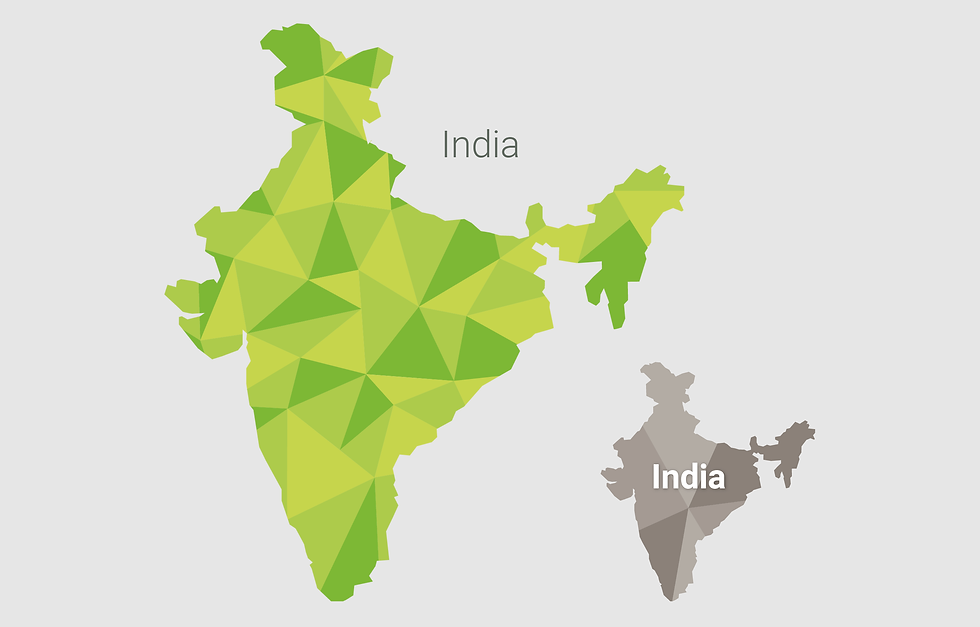 Example map of India made up of geometric shapes