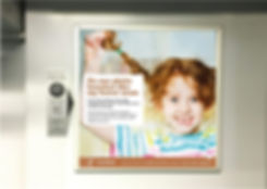 Example train ad showing young girl with pig tails