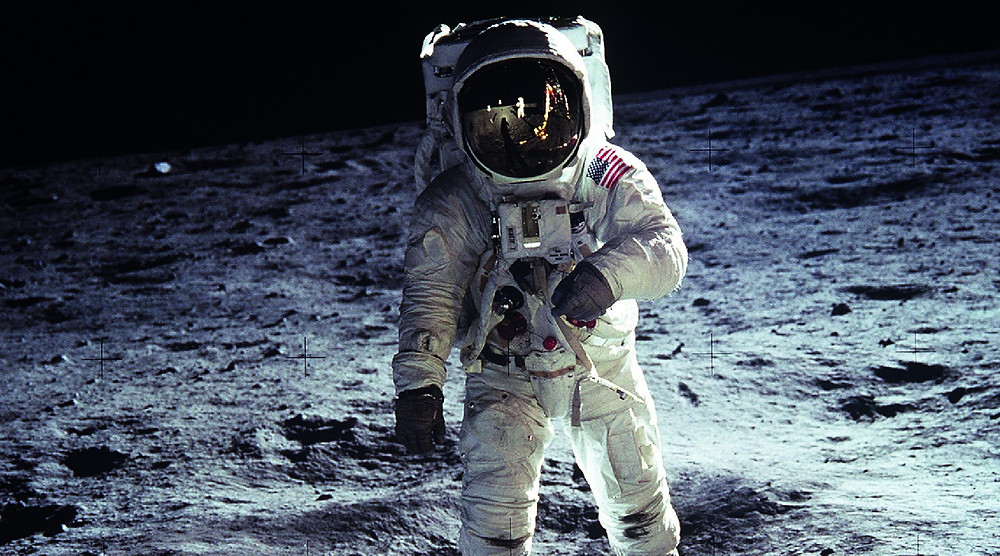 Astronaut walking on moon
