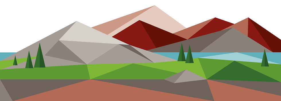 Illustratin of mountainous landscape and trees made up of geometric shapes