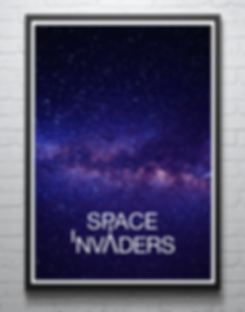 Typographic poster illustrating space invaders