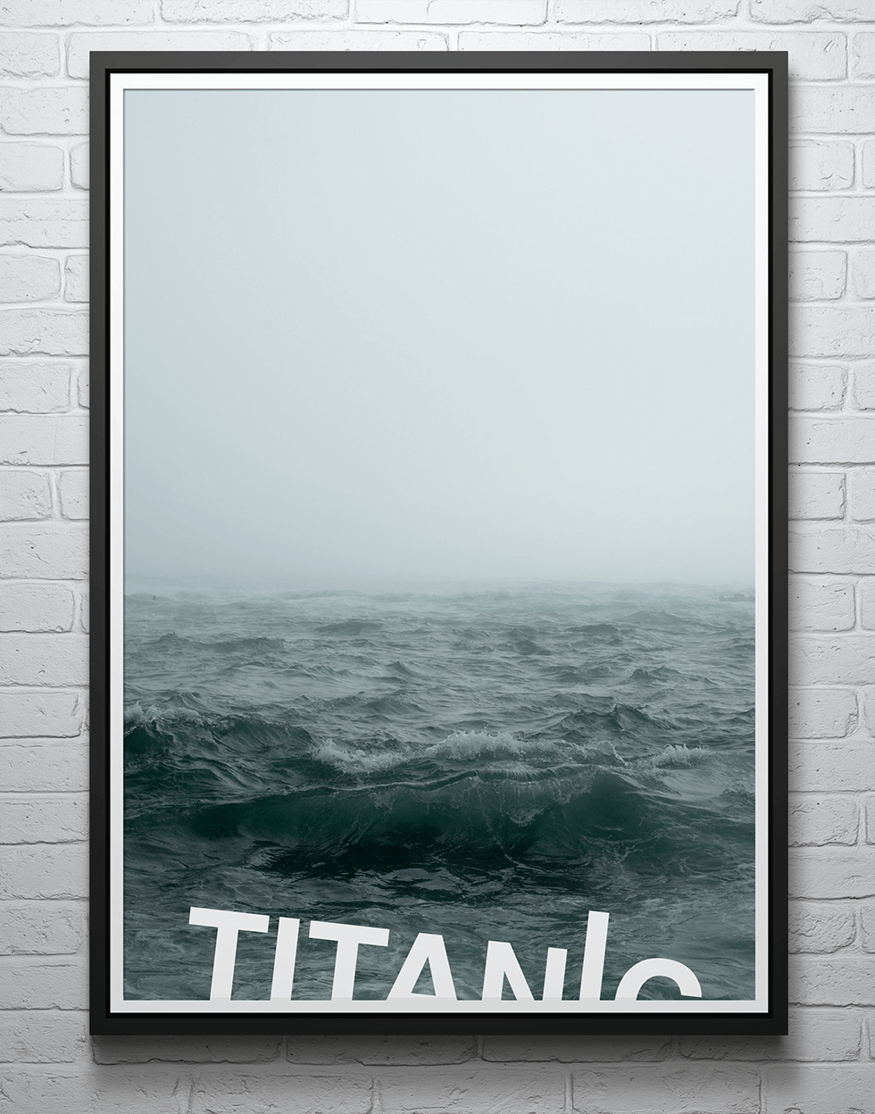 Typographic poster illustrating sinking of Titanic