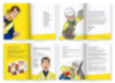 Brochure spreads featuring cartoon of engineer