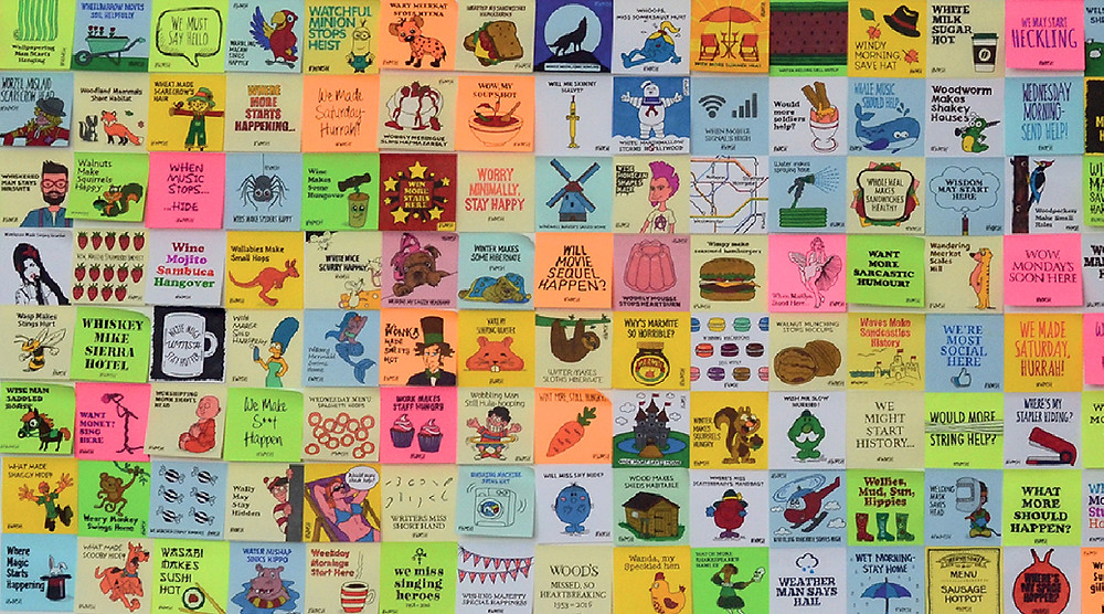 Wall of illustrated post-it notes