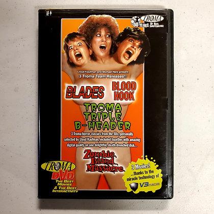 TROMA Triple B-Header - Rare DVD (Blades. Blood Hook. Zombie Island Massacre.)