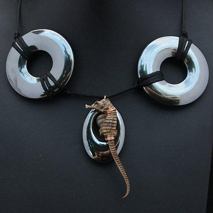 Hematite Cabochon Lace & Copper Seahorse Choker by BRIX Fine Jewellery (Size 14)