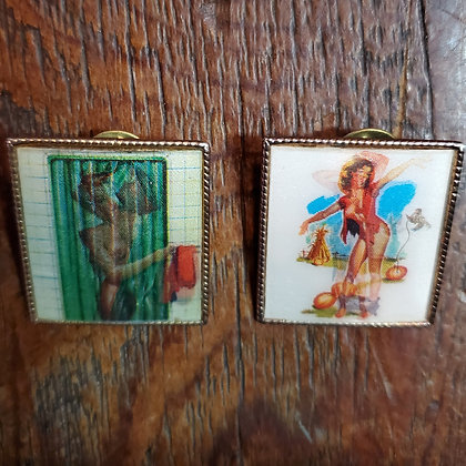 2 Vintage Animated PIN UP Buttons