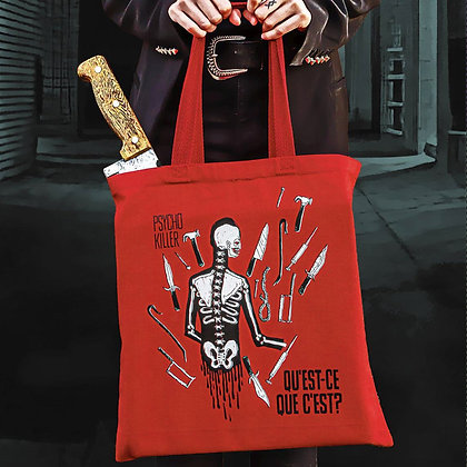 Psycho Killer Tote Bag (Red Canvas) Hand Screen Printed by @hello.my.pretty