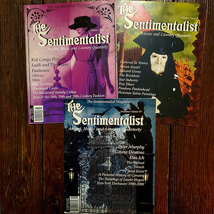 3 Issues of THE SENTIMENTALIST Goth Culture Magazine (#2,3,4 / Vol. 1)