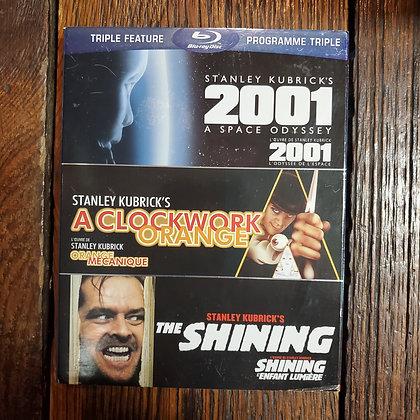 3 Disc Bluray Triple Feature 2001, THE SHINING, A CLOCKWORK ORANGE