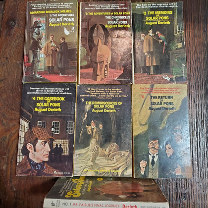 7 Vintage Solar Pons Mystery Books by AUGUST DERLETH
