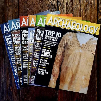 6 ARCHAEOLOGY Magazines - 2017 Complete Set