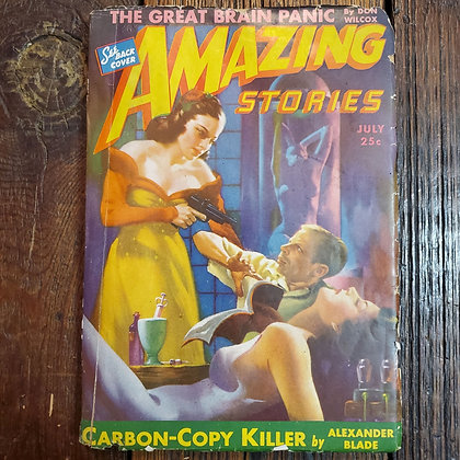 AMAZING STORIES July 1943 #7 Vol.17 READER COPY! Brittle cover/corner ect damage