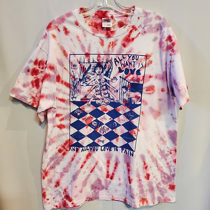ALL YOU WANT IS LOVE Tie-dye SHIRT size large by CHANEL COLLEAUX @gutstems
