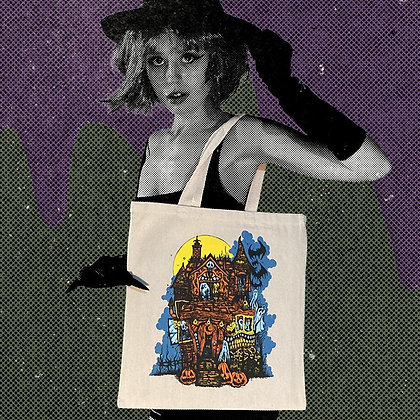 Haunted House Tote Bag (Natural Canvas) Hand Screen Printed By @hello.my.pretty