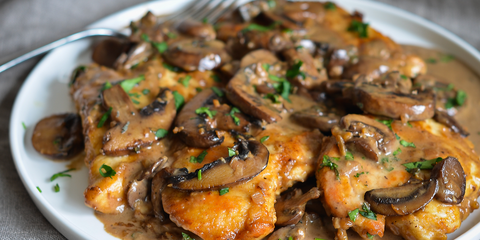 Chicken scaloppine with marsala and mushrooms
