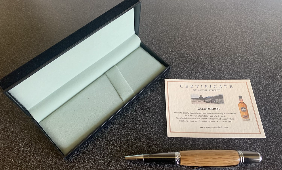 Glenfiddich whisky barrel pen