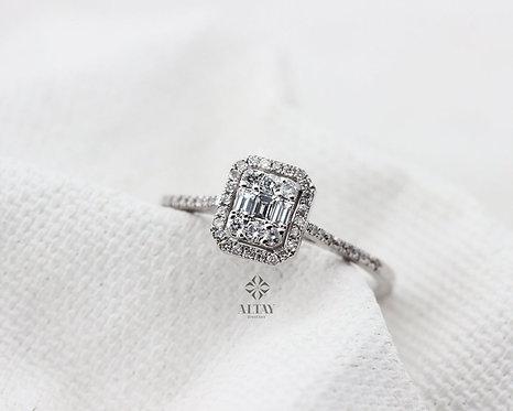 14K Gold Baguette Diamond Ring, Brilliant Diamond Engagement Ring