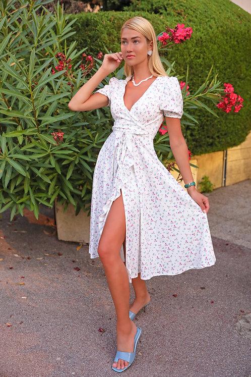 Laura wrapped around 3/4 length elegant dress