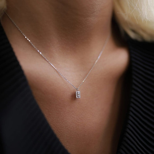 14k White Gold Baguette Diamond Necklace, Charm and Dainty Layering Necklace