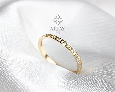 14K Gold Half Eternity Ring, Wedding Band,