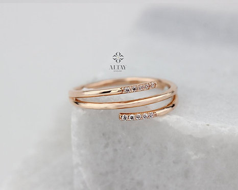 Multi Bands 14k Solid Gold Ring, Tiny Bands, Stackable, Dainty, Zircon Stone