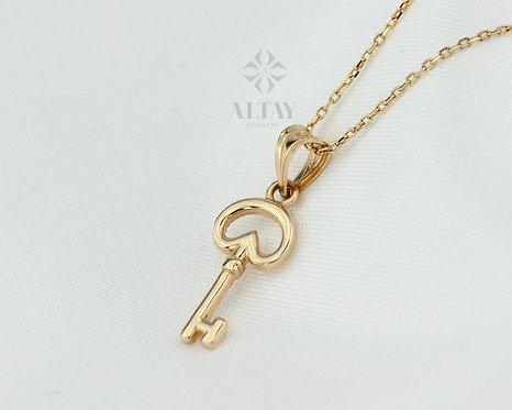 14k Vintage Key Necklace, Key Pendant, Gift For Her, Baby Shower, Bridal Shower