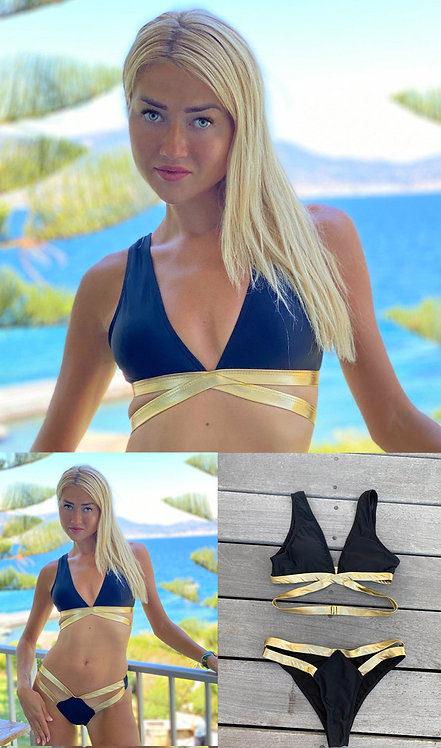 Exclusive Reg 31 Black and Gold Swimwear Top