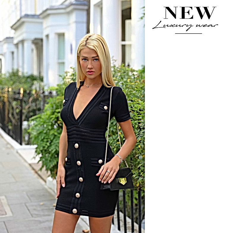 Laura Black fitted v neck bodycon dress
