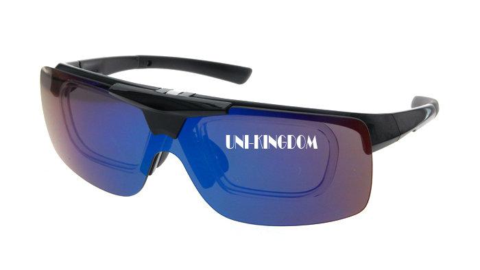 Flip up sports sunglasses with prescription frame cover P-4414