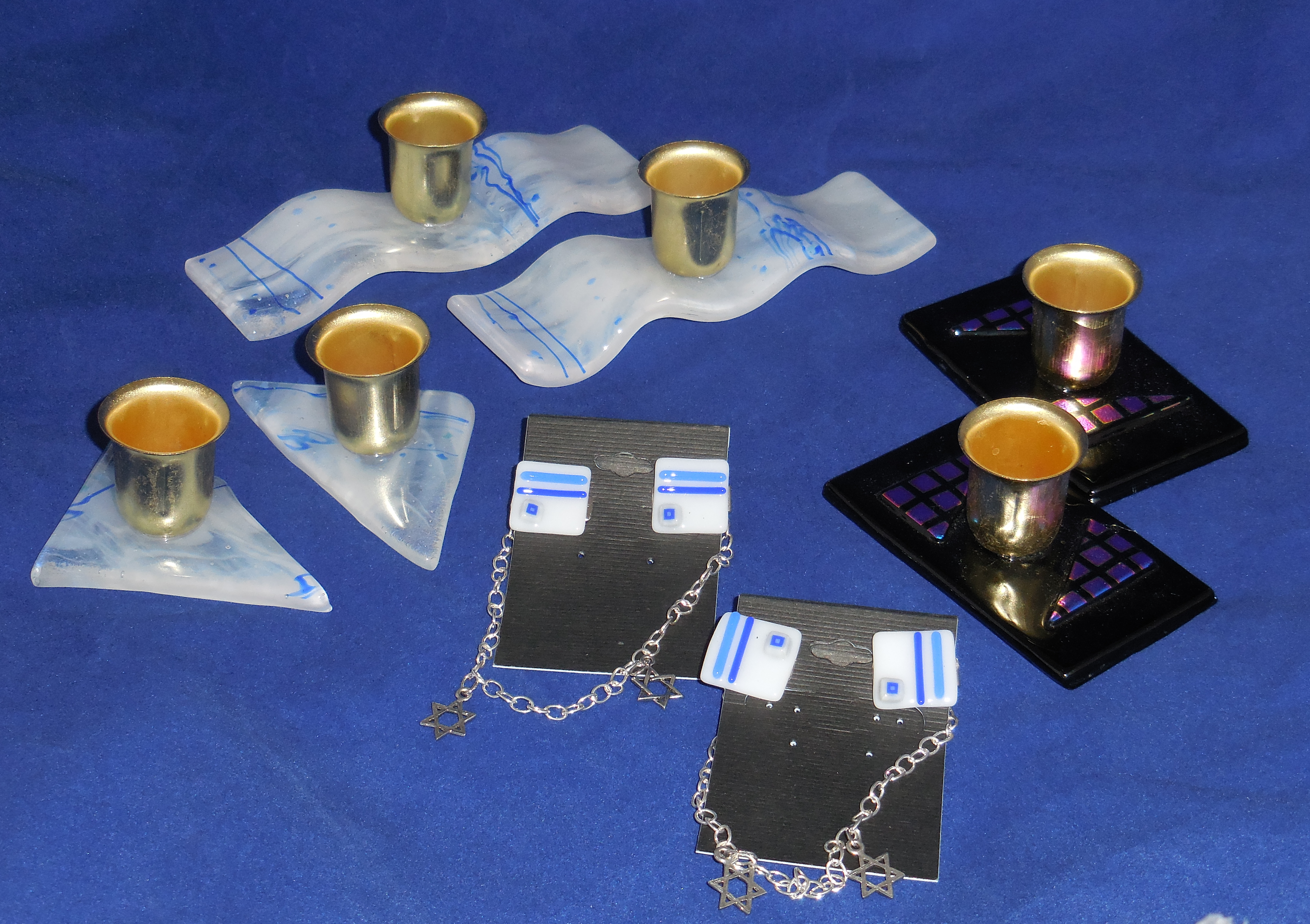 Shabbat candleholders and talit clips