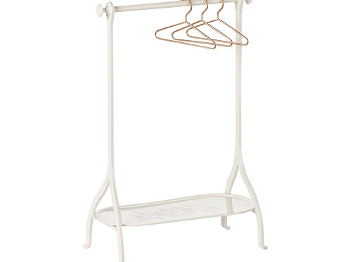 Maileg Clothes Rack, Off white, incl 3 gold hangers