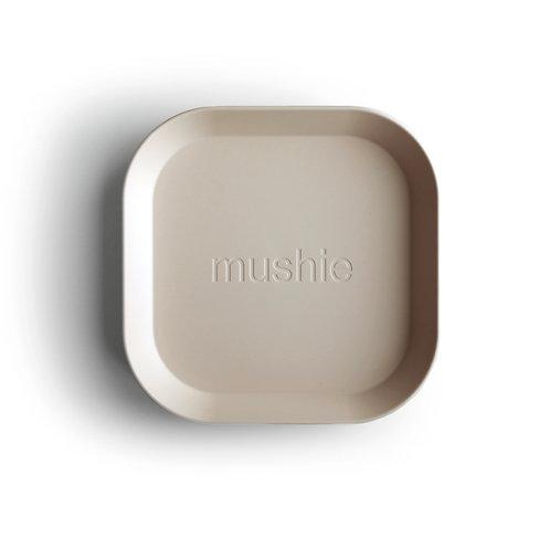 Mushie Plate square vanilla