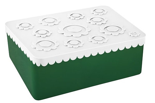 Blafre lunch box 3 compartimenten flower white+dark green