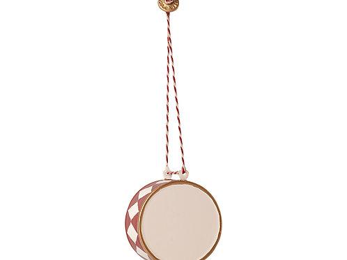 Metal ornament, Large drum - Red