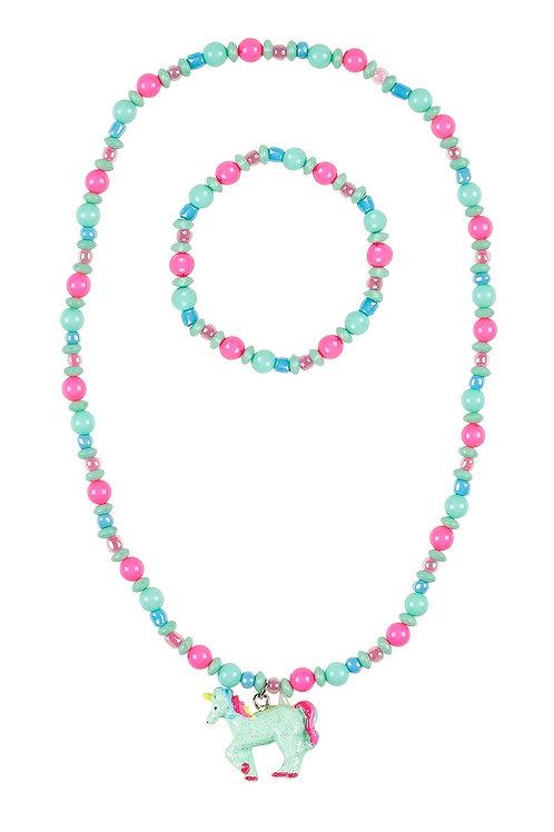 Necklace + bracelet Aike, unicorn pink-mint