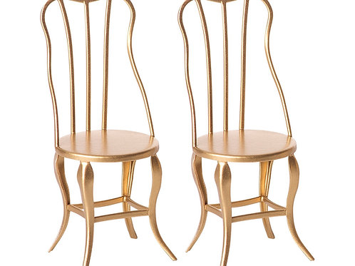 Maileg Vintage chair, Micro - Gold, 2 pack