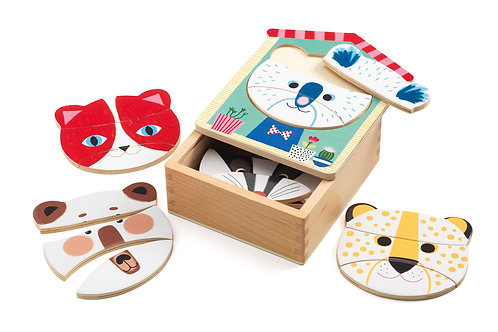 Djeco - WOODEN PUZZLES - Face-mix