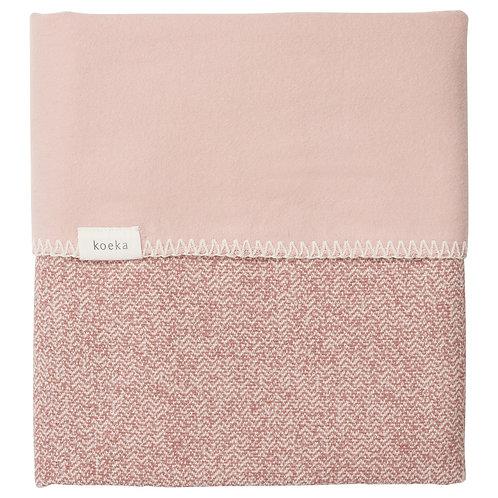 Koeka Ledikantdeken Vigo flanel old pink/shadow pink