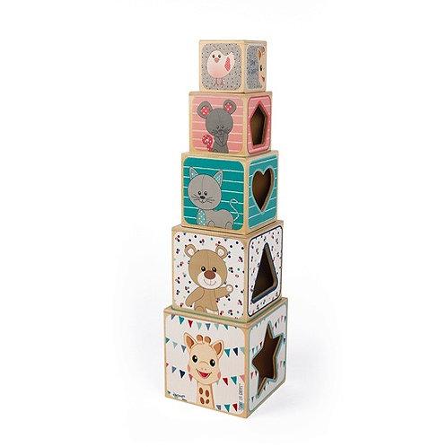 Janod - Sophie de Giraffe - Stapeltoren houten blokken