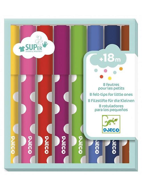 Djeco - FELT-TIPS - 8 felt-tip pens for young children